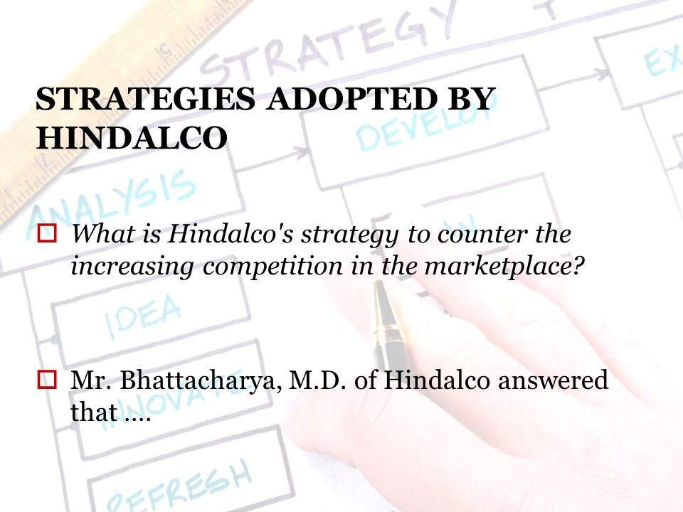 STRATEGIES ADOPTED BY HINDALCO  What is Hindalco s strategy to counter the increasing competition in the marketplace.