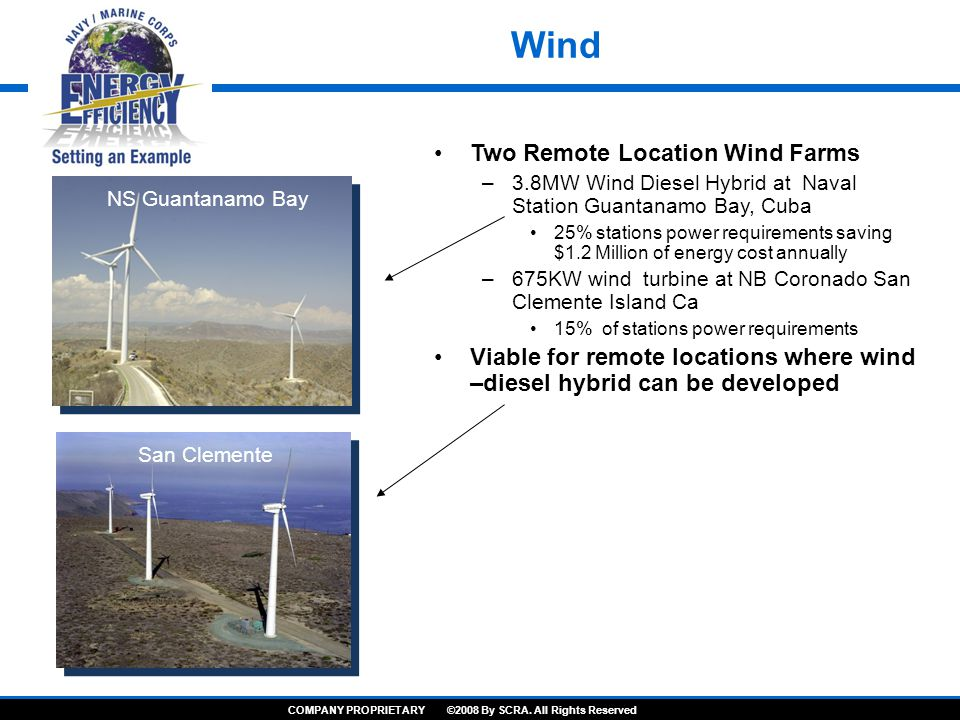 Wind Two Remote Location Wind Farms –3.8MW Wind Diesel Hybrid at Naval Station Guantanamo Bay, Cuba 25% stations power requirements saving $1.2 Million of energy cost annually –675KW wind turbine at NB Coronado San Clemente Island Ca 15% of stations power requirements Viable for remote locations where wind –diesel hybrid can be developed NS Guantanamo Bay San Clemente COMPANY PROPRIETARY ©2008 By SCRA.