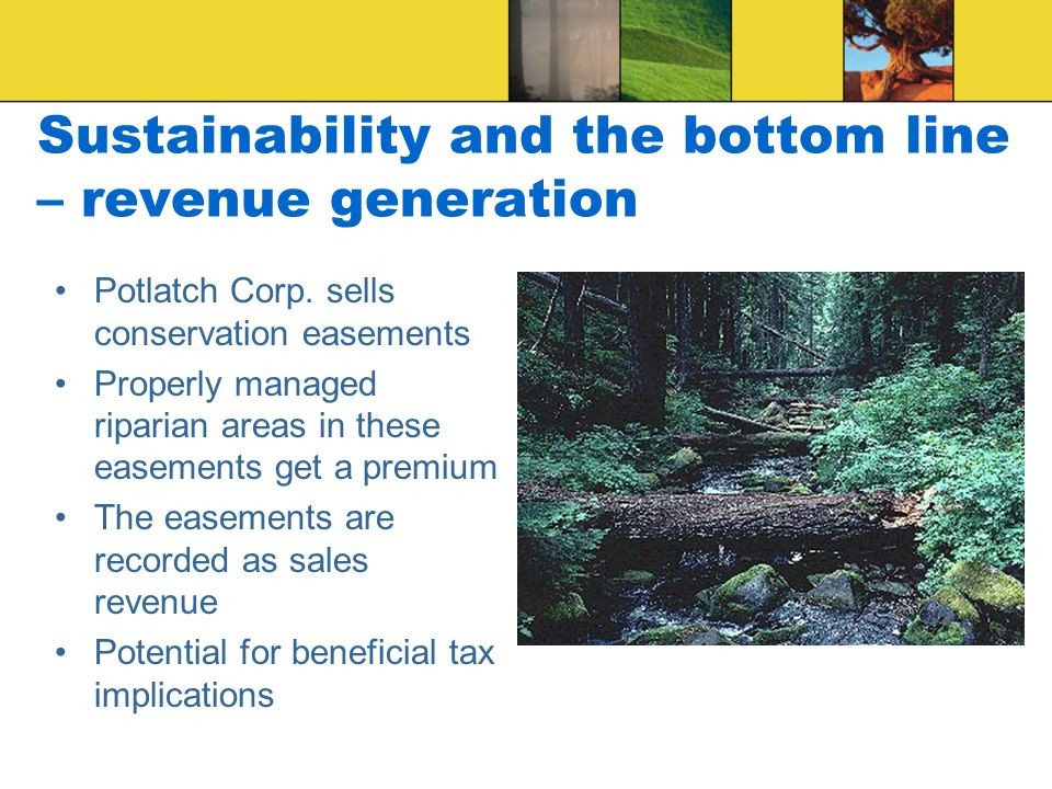 Sustainability and the bottom line – revenue generation Potlatch Corp. sells conservation easements Properly managed riparian areas in these easements