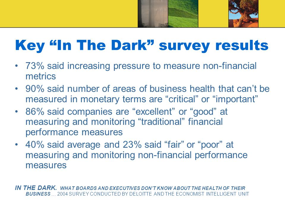 73% said increasing pressure to measure non-financial metrics 90% said number of areas of business health that can't be measured in monetary terms are