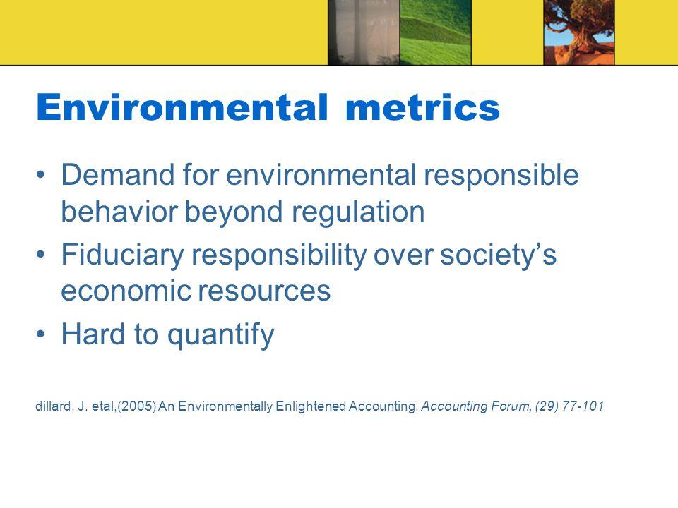 Environmental metrics Demand for environmental responsible behavior beyond regulation Fiduciary responsibility over society's economic resources Hard