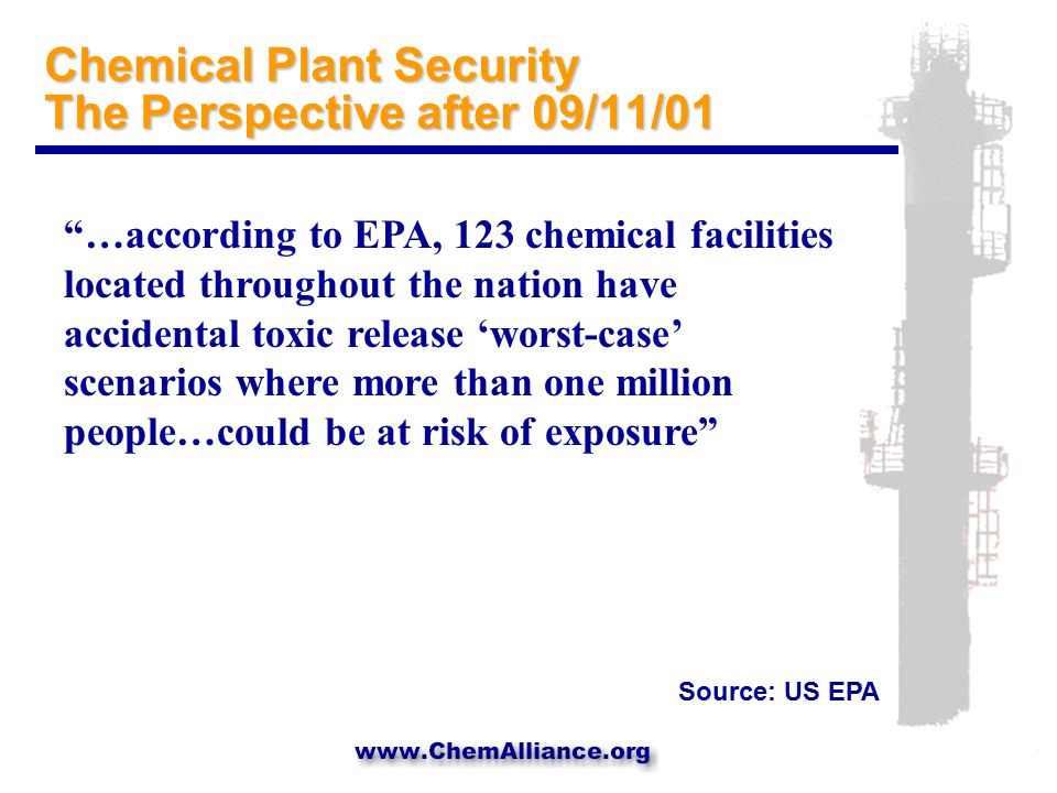 Some Caveats  Process modification is non-trivial for the chemical industry  Some strategies tend to shift risks, rather than reduce them ; e.g., reducing inventories may increase transportation  Even if all risk could be eliminated from chemical manufacturing facilities, other targets exist ; only 18% of facilities required to report under RMP were chemical manufacturing facilities.