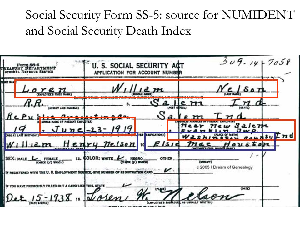 Social Security Form SS-5: source for NUMIDENT and Social Security Death Index