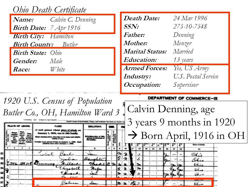 Ohio Death Certificate Name: Calvin C.