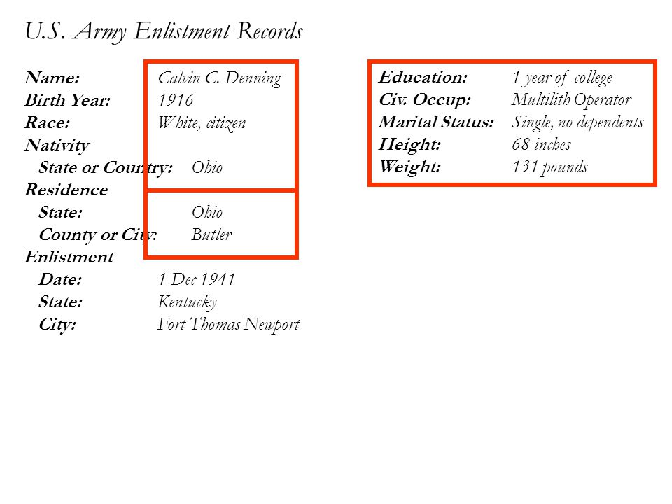 U.S. Army Enlistment Records Name: Calvin C.