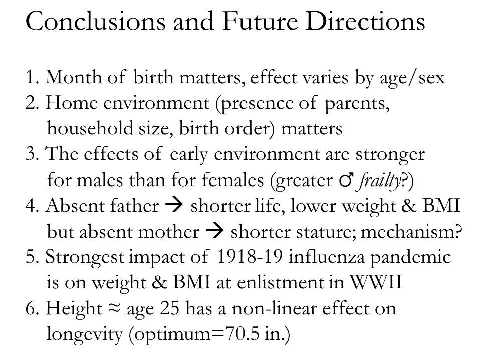 Conclusions and Future Directions 1. Month of birth matters, effect varies by age/sex 2.