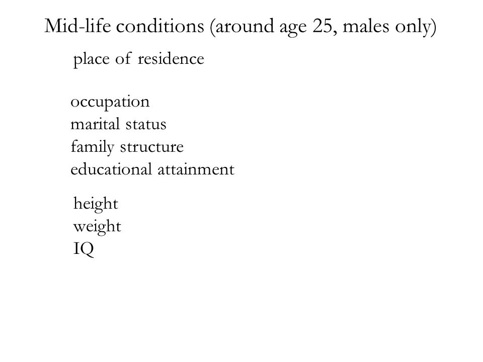 occupation marital status family structure educational attainment Mid-life conditions (around age 25, males only) height weight IQ place of residence