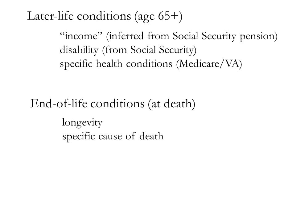 Later-life conditions (age 65+) income (inferred from Social Security pension) disability (from Social Security) specific health conditions (Medicare/VA) End-of-life conditions (at death) longevity specific cause of death