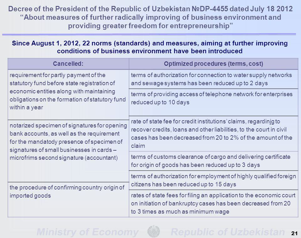 Decree of the President of the Republic of Uzbekistan №DP-4455 dated July 18 2012 About measures of further radically improving of business environment and providing greater freedom for entrepreneurship Since August 1, 2012, 22 norms (standards) and measures, aiming at further improving conditions of business environment have been introduced 21 Cancelled:Optimized procedures (terms, cost) requirement for partly payment of the statutory fund before state registration of economic entities along with maintaining obligations on the formation of statutory fund within a year terms of authorization for connection to water supply networks and sewage systems has been reduced up to 2 days terms of providing access of telephone network for enterprises reduced up to 10 days rate of state fee for credit institutions' claims, regardinjg to recover credits, loans and other liabilities, to the court in civil cases has been decreased from 20 to 2% of the amount of the claim notarized specimen of signatures for opening bank accounts, as well as the requirement for the mandatody presence of specimen of signatures of small businesses in cards – microfrims second signature (accountant) terms of customs clearance of cargo and delivering certificate for origin of goods has been reduced up to 3 days terms of authorization for employment of highly qualified foreign citizens has been reduced up to 15 days the procedure of confirming country origin of imported goods rates of state fees for filing an application to the economic court on initiation of bankruptcy cases has been decreased from 20 to 3 times as much as minimum wage
