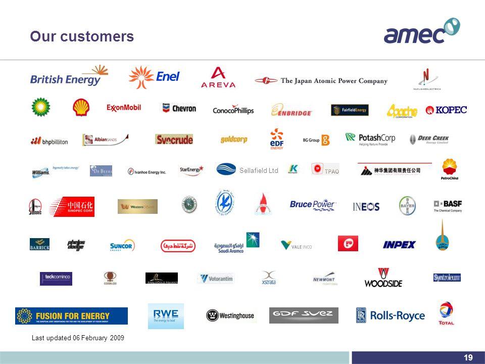 19 Our customers CIS Last updated 06 February 2009 Sellafield Ltd