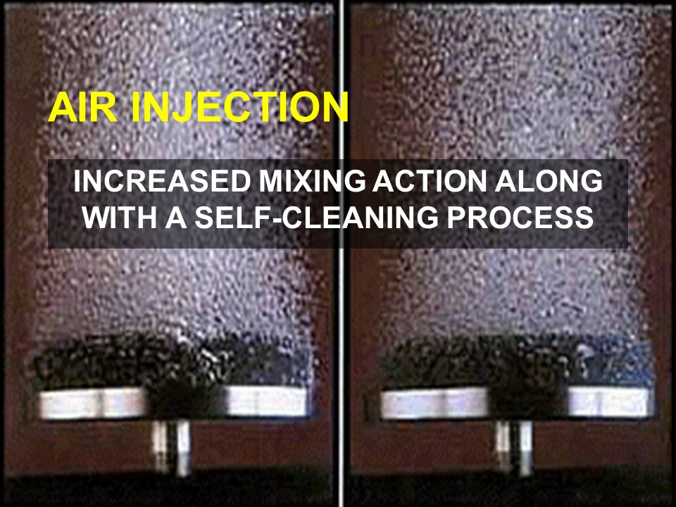 AIR INJECTION INCREASED MIXING ACTION ALONG WITH A SELF-CLEANING PROCESS