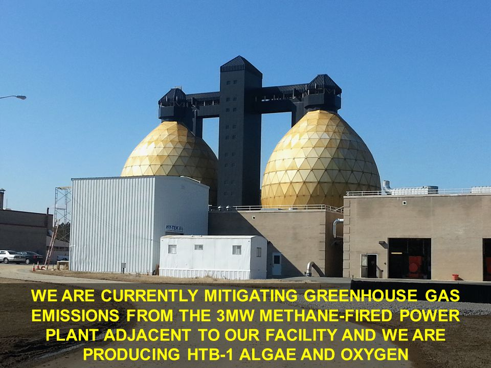 WE ARE CURRENTLY MITIGATING GREENHOUSE GAS EMISSIONS FROM THE 3MW METHANE-FIRED POWER PLANT ADJACENT TO OUR FACILITY AND WE ARE PRODUCING HTB-1 ALGAE AND OXYGEN