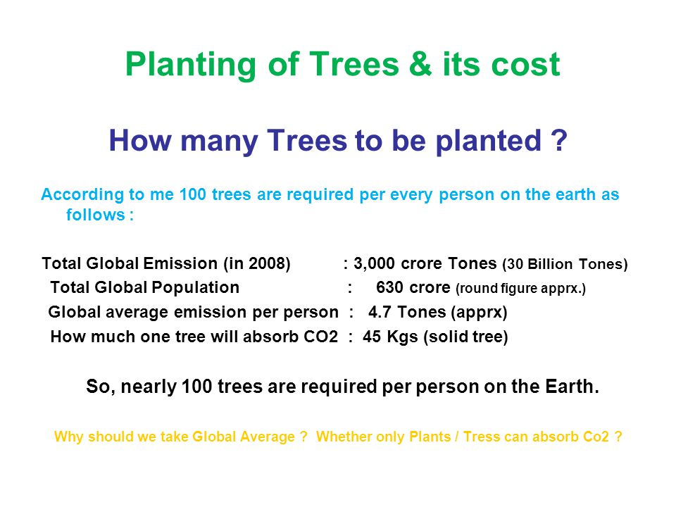 Planting of Trees & its cost How many Trees to be planted ? According to me 100 trees are required per every person on the earth as follows : Total Gl