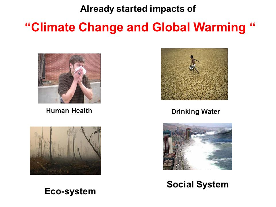 "Already started impacts of ""Climate Change and Global Warming "" Human Health Drinking Water Eco-system Social System"