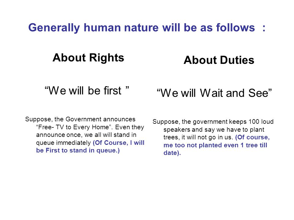 "Generally human nature will be as follows : About Rights ""We will be first "" Suppose, the Government announces ""Free- TV to Every Home"". Even they ann"