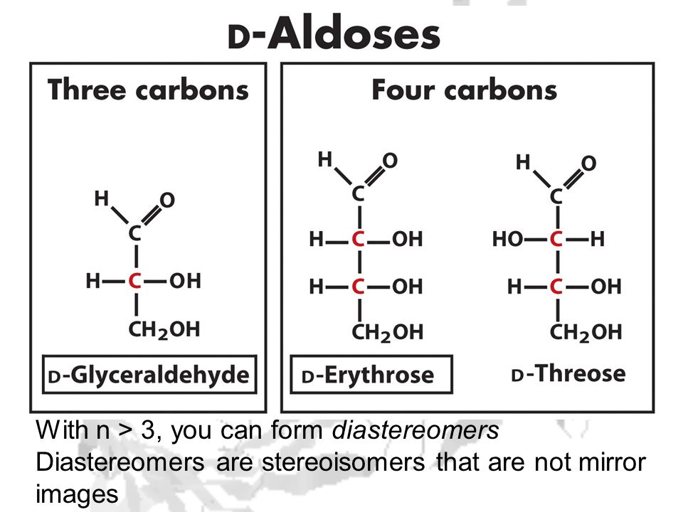 With n > 3, you can form diastereomers Diastereomers are stereoisomers that are not mirror images