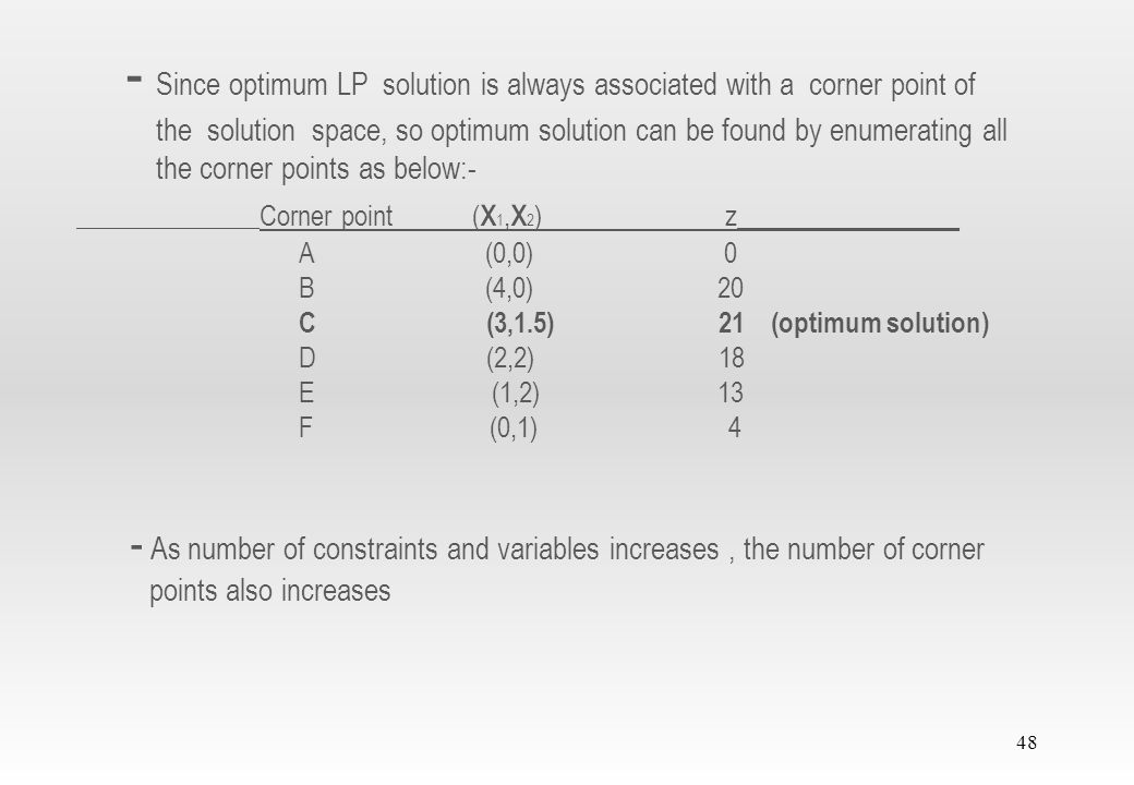 47 - Important characteristic of the optimum LP solution is that it is always associated with a corner point of the solution space (where two lines intersect) - This is even true if the objective function happens to be parallel to a constraint - For example if the objective function is, z = 6x 1 + 4x 2 - The above equation is parallel to constraint of equation - So optimum occurs at either corner point B or corner point C when parallel - Actually any point on the line segment BC will be an alternative optimum - Line segment BC is totally defined by the corner points B and C 1
