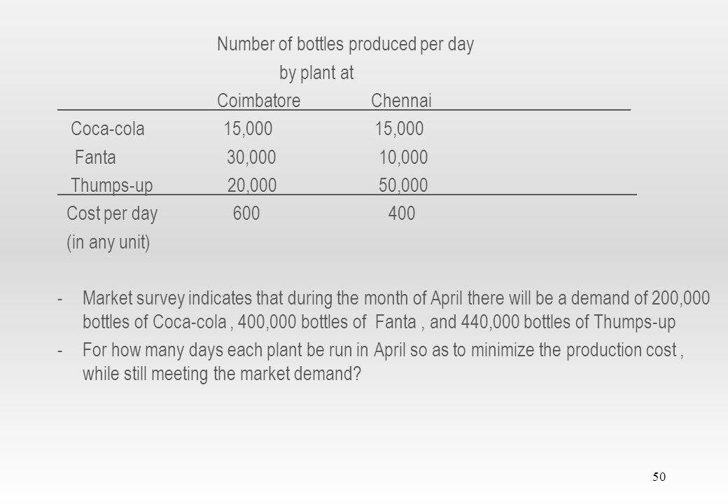 49 2.2.2 Solution of a Minimization model Example 2.2-3 -Firm or industry has two bottling plants -One plant located at Coimbatore and other plant located at Chennai -Each plant produces three types of drinks Coca-cola, Fanta and Thumps-up