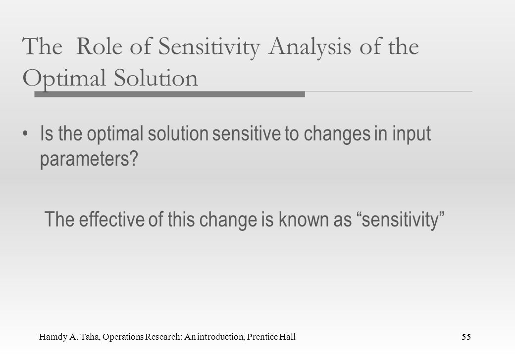 Hamdy A. Taha, Operations Research: An introduction, Prentice Hall54 Sensitivity Analysis 54