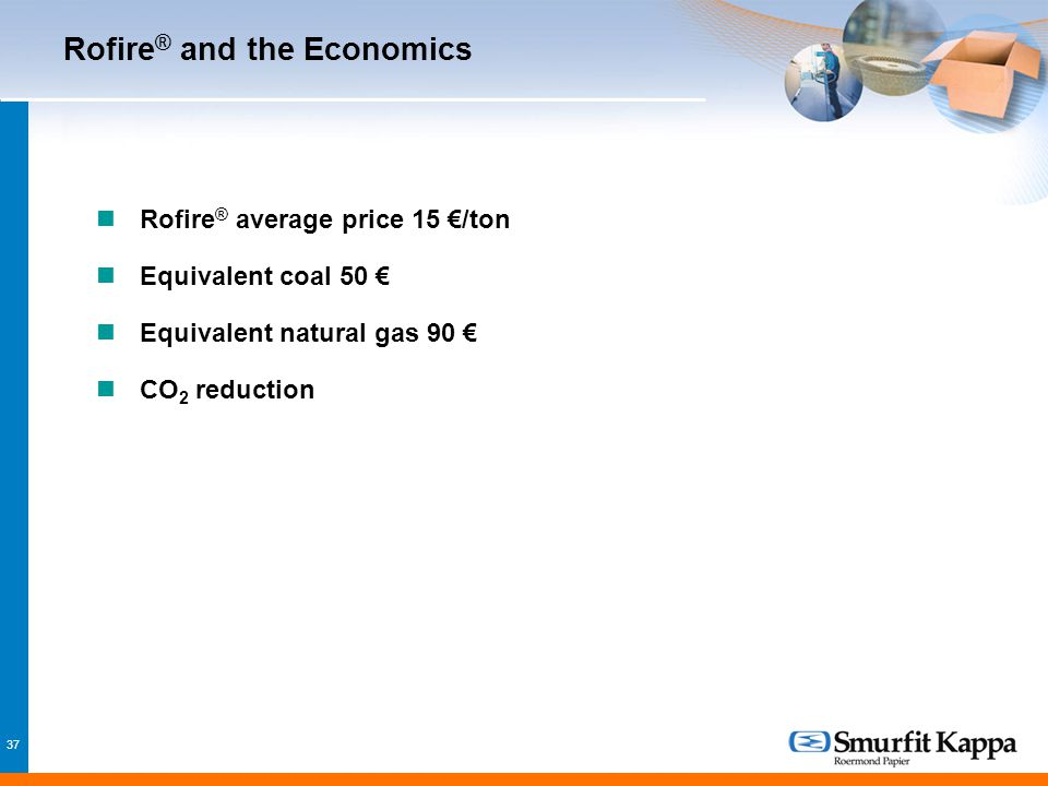 37 Rofire ® and the Economics Rofire ® average price 15 €/ton Equivalent coal 50 € Equivalent natural gas 90 € CO 2 reduction
