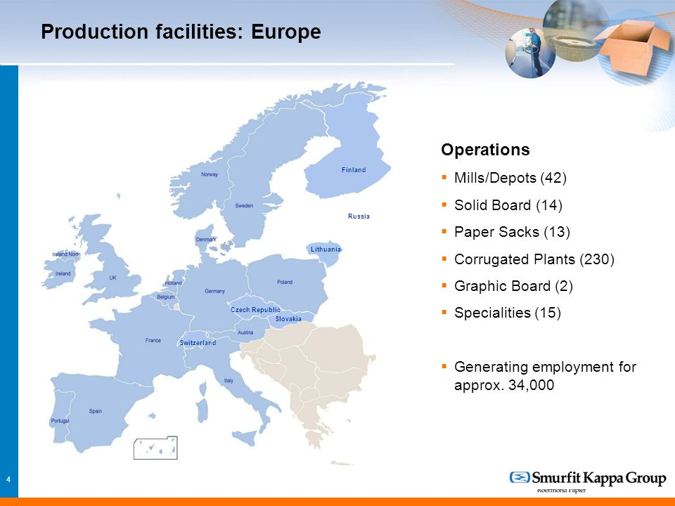 4 Production facilities: Europe Czech Republic Switzerland Slovakia Russia Finland Lithuania Operations  Mills/Depots (42)  Solid Board (14)  Paper