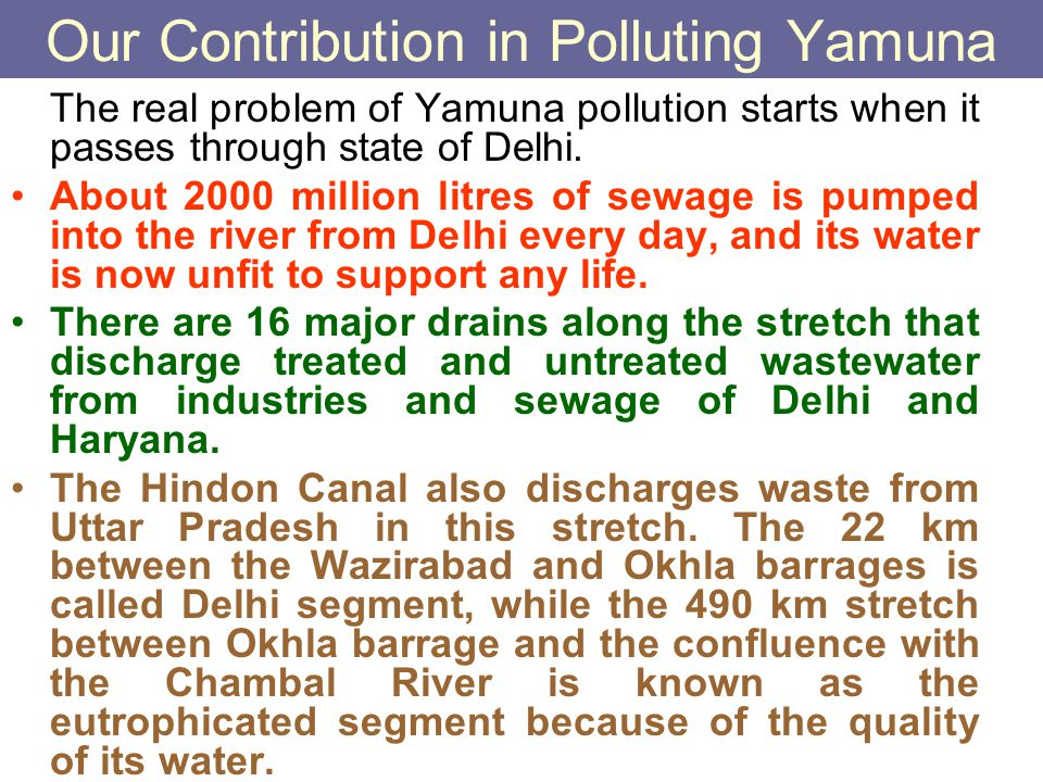 Our Contribution in Polluting Yamuna The real problem of Yamuna pollution starts when it passes through state of Delhi. About 2000 million litres of s