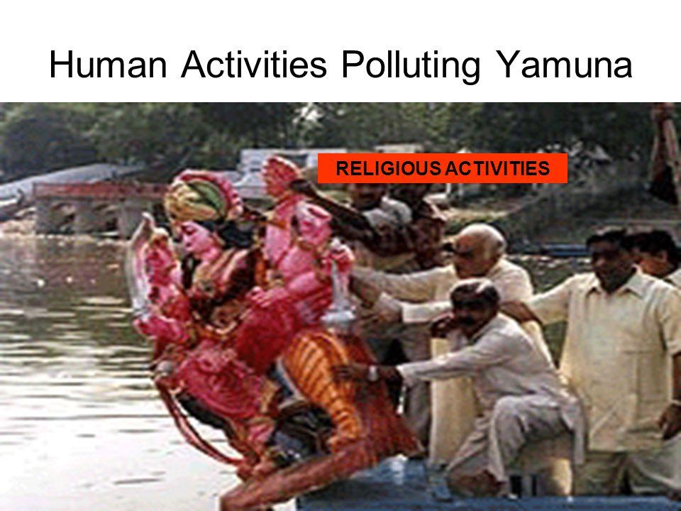 Human Activities Polluting Yamuna DEFORESTATION SEWERAGE CREMATIONHUMAN WASTE RELIGIOUS ACTIVITIES