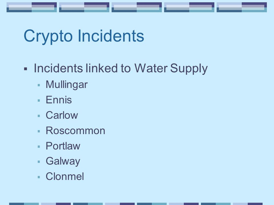 Crypto Incidents  Incidents linked to Water Supply  Mullingar  Ennis  Carlow  Roscommon  Portlaw  Galway  Clonmel