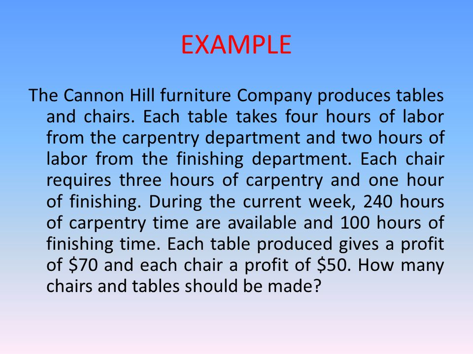 EXAMPLE The Cannon Hill furniture Company produces tables and chairs. Each table takes four hours of labor from the carpentry department and two hours