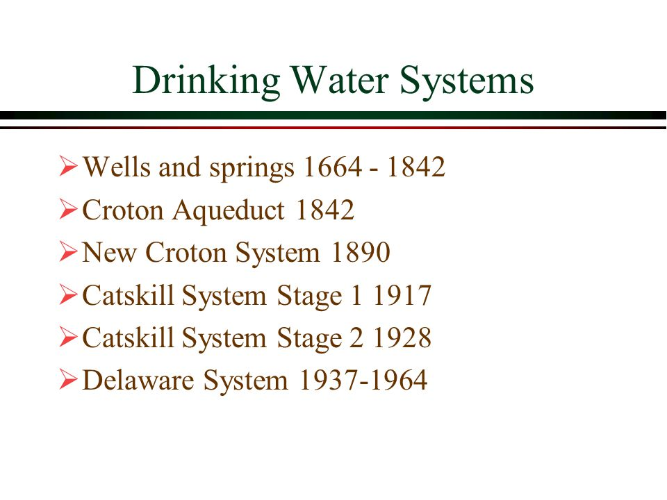 Drinking Water Systems  Wells and springs 1664 - 1842  Croton Aqueduct 1842  New Croton System 1890  Catskill System Stage 1 1917  Catskill System Stage 2 1928  Delaware System 1937-1964