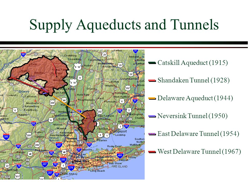 Supply Aqueducts and Tunnels Shandaken Tunnel (1928) Catskill Aqueduct (1915) Delaware Aqueduct (1944) Neversink Tunnel (1950) East Delaware Tunnel (1954) West Delaware Tunnel (1967)