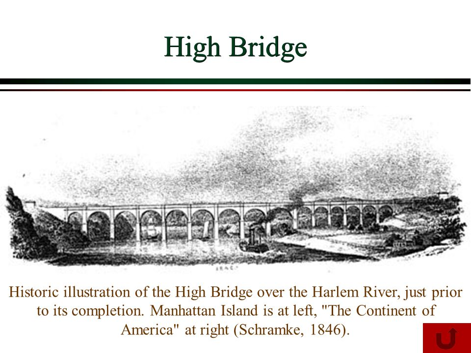 Historic illustration of the High Bridge over the Harlem River, just prior to its completion.