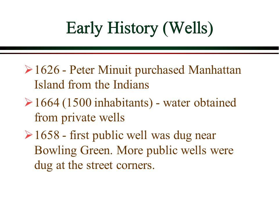 NYC Water Supply Summary  NYC almost continuously expanded its water supply from the beginning until the late 1960s  NYC continues to expand its water distribution system  NYC water demand has stabilized  NYC is focusing its efforts on water quality and on water conservation