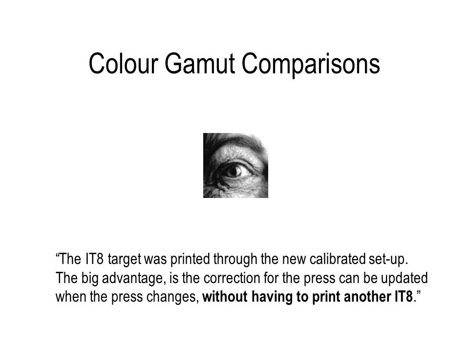 Colour Gamut Comparisons The IT8 target was printed through the new calibrated set-up.