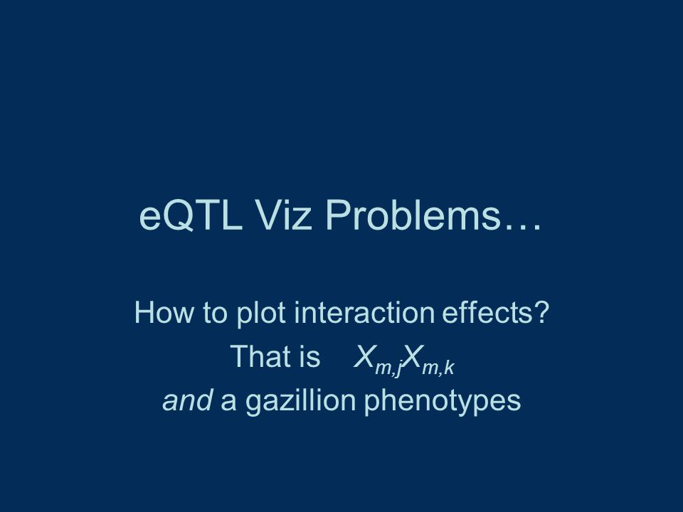 eQTL Viz Problems… How to plot interaction effects That is X m,j X m,k and a gazillion phenotypes