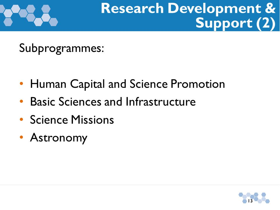 Subprogrammes: Human Capital and Science Promotion Basic Sciences and Infrastructure Science Missions Astronomy Research Development & Support (2) 13
