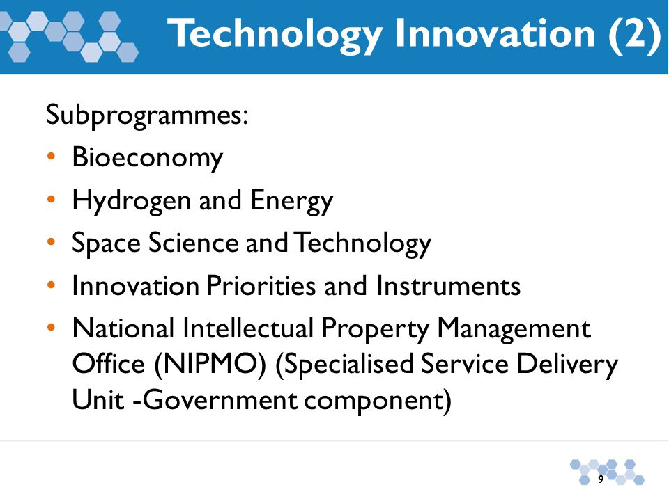 Technology Innovation (2) Subprogrammes: Bioeconomy Hydrogen and Energy Space Science and Technology Innovation Priorities and Instruments National In