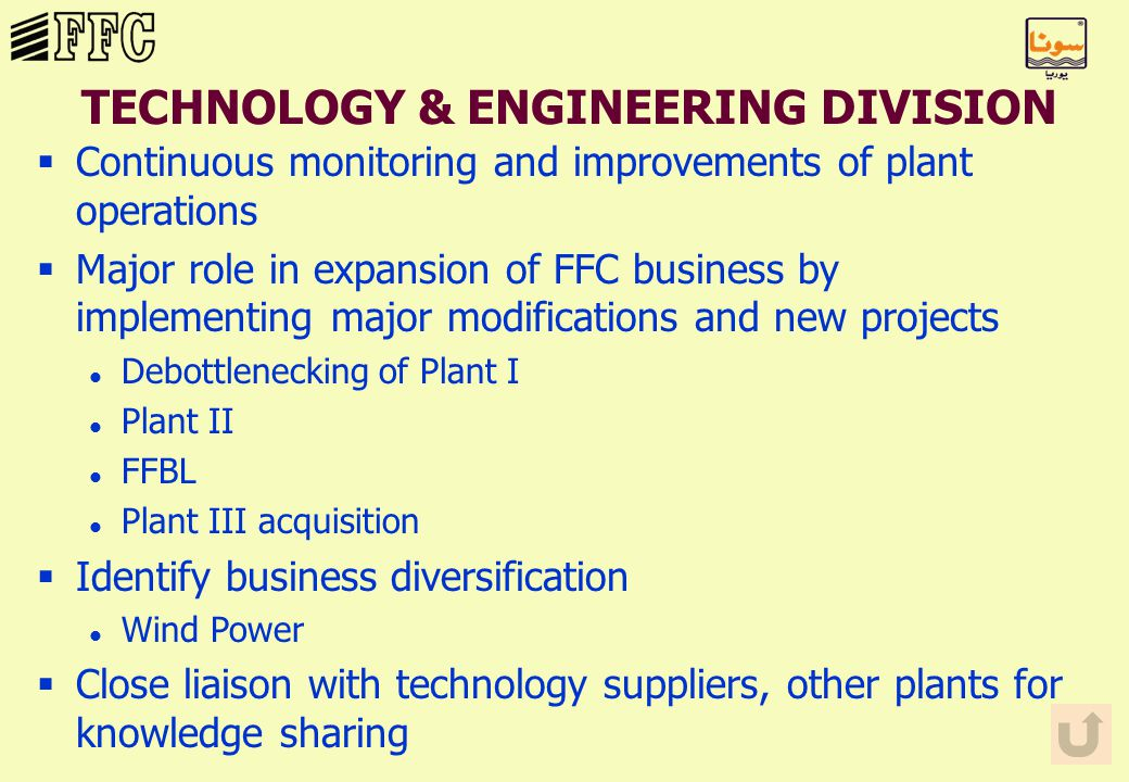 TECHNOLOGY & ENGINEERING DIVISION §Continuous monitoring and improvements of plant operations §Major role in expansion of FFC business by implementing major modifications and new projects l Debottlenecking of Plant I l Plant II l FFBL l Plant III acquisition §Identify business diversification l Wind Power §Close liaison with technology suppliers, other plants for knowledge sharing