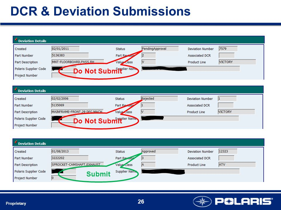 DCR & Deviation Submissions Do Not Submit Submit Proprietary 26