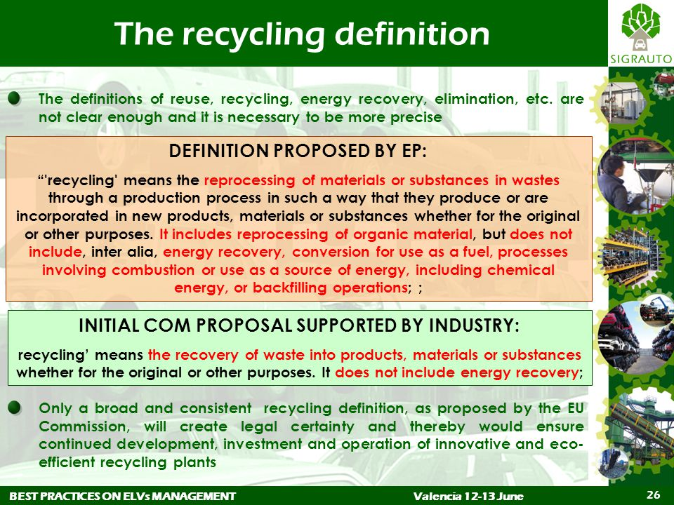BEST PRACTICES ON ELVs MANAGEMENTValencia 12-13 June 26 The recycling definition The definitions of reuse, recycling, energy recovery, elimination, etc.