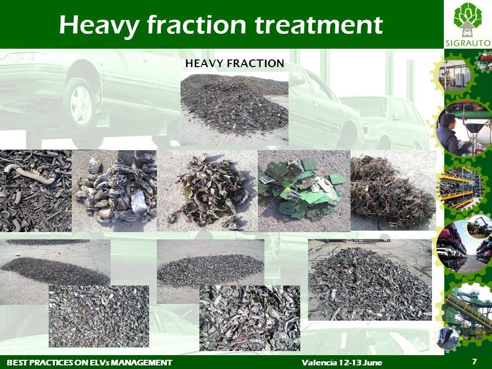 BEST PRACTICES ON ELVs MANAGEMENTValencia 12-13 June 7 Heavy fraction treatment HEAVY FRACTION
