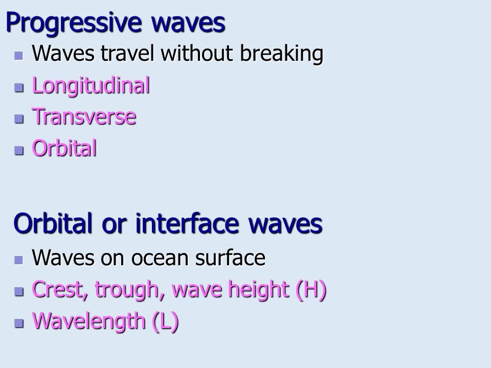 Progressive waves Waves travel without breaking Waves travel without breaking Longitudinal Longitudinal Transverse Transverse Orbital Orbital Orbital