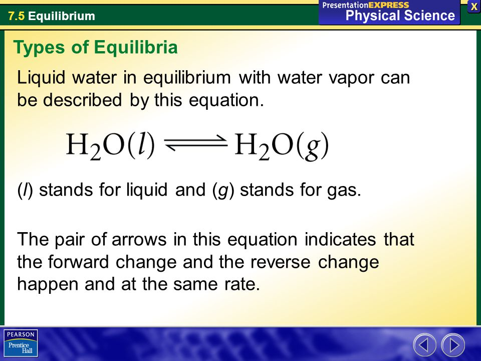 7.5 Equilibrium Liquid water in equilibrium with water vapor can be described by this equation.