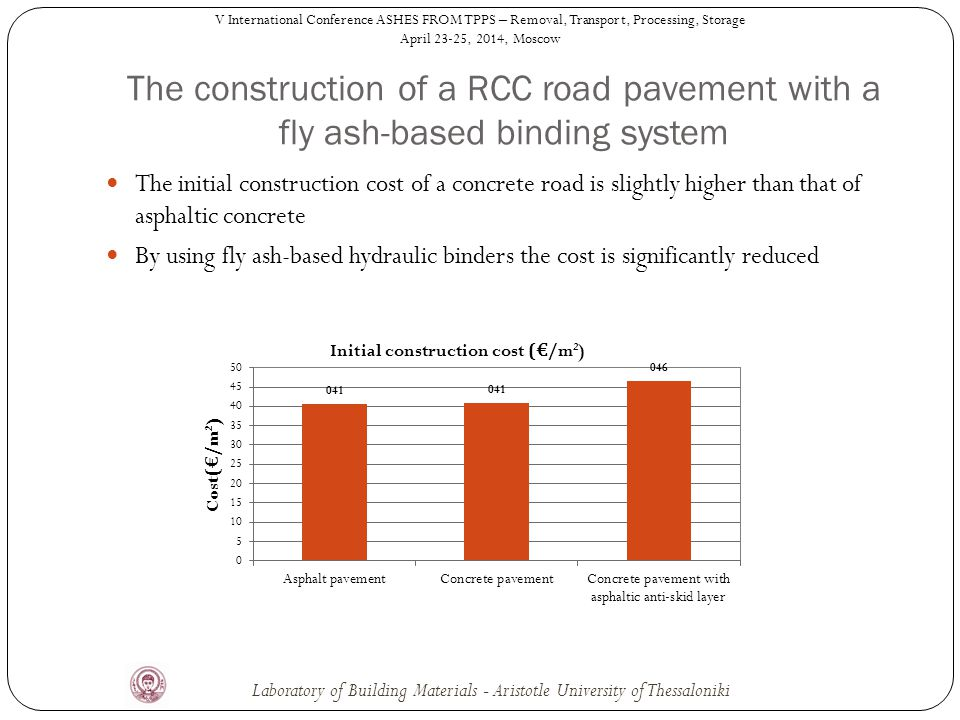 The initial construction cost of a concrete road is slightly higher than that of asphaltic concrete By using fly ash-based hydraulic binders the cost