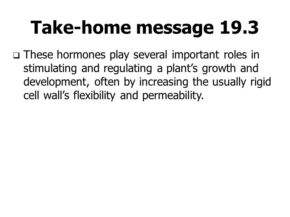 Take-home message 19.3  These hormones play several important roles in stimulating and regulating a plant's growth and development, often by increasi