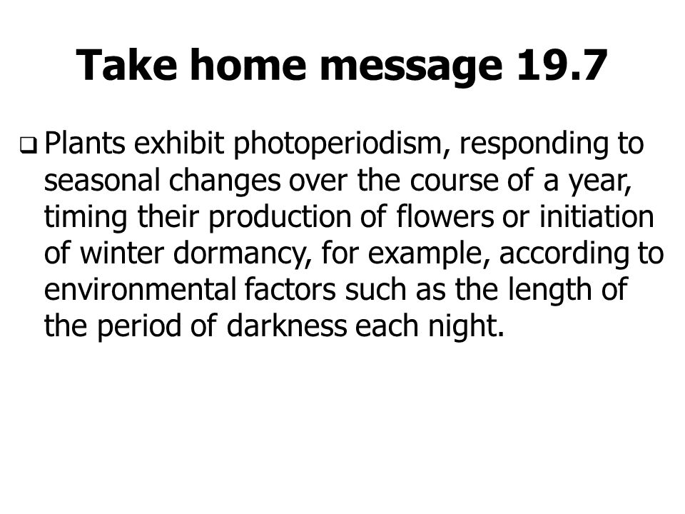 Take home message 19.7  Plants exhibit photoperiodism, responding to seasonal changes over the course of a year, timing their production of flowers o