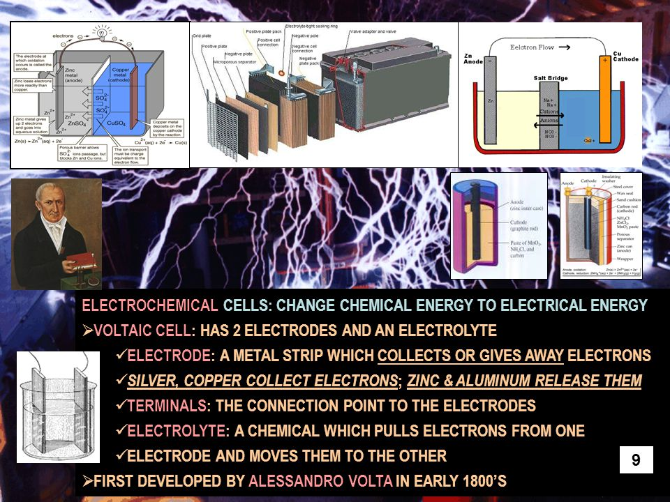 ELECTROCHEMICAL CELLS: CHANGE CHEMICAL ENERGY TO ELECTRICAL ENERGY  VOLTAIC CELL: HAS 2 ELECTRODES AND AN ELECTROLYTE ELECTRODE: A METAL STRIP WHICH