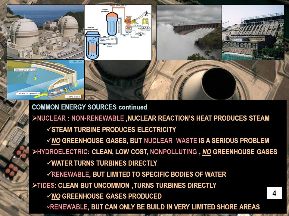 COMMON ENERGY SOURCES continued  NUCLEAR : NON-RENEWABLE,NUCLEAR REACTION'S HEAT PRODUCES STEAM STEAM TURBINE PRODUCES ELECTRICITY NO GREENHOUSE GASE