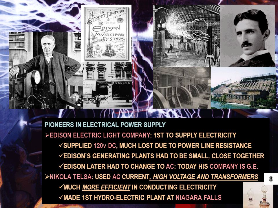 PIONEERS IN ELECTRICAL POWER SUPPLY  EDISON ELECTRIC LIGHT COMPANY: 1ST TO SUPPLY ELECTRICITY SUPPLIED 120v DC, MUCH LOST DUE TO POWER LINE RESISTANC