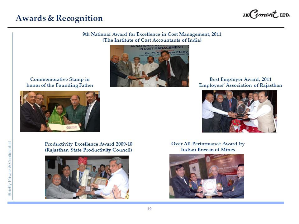 Strictly Private & Confidential Awards & Recognition 19 Best Employer Award, 2011 Employers' Association of Rajasthan 9th National Award for Excellenc
